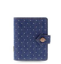 Filofax Pocket Size Denim Dots Organiser Planner Notebook Diary Indigo -027034
