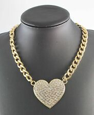 Hot Sale Gold Plated Full Rhinestone Big Heart Fashion Chain Necklace