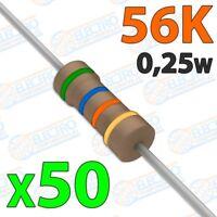 Resistencia 56K ohm 0,25w ±5% 300v - Lote 50 unidades - Arduino Electronica DIY