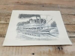 ART SKETCH OF THE STEAMBOAT BETSY ANN BY ROSCOE MISSELHORN IN GOOD SHAPE