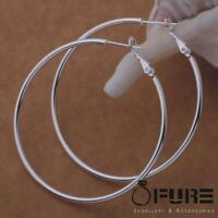 Top Quality 925 Sterling Silver Plated Smooth Hoop Earrings Ear Hoops Set