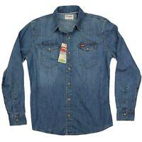 New Wrangler Long Sleeve Denim Shirt Indigo Color Trim Fit Men's Sizes  S M L XL