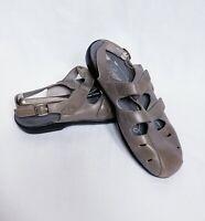 Propet Women's Grenada Gray Leather Fisherman Sandals 9 W Ortholite Boho Comfort