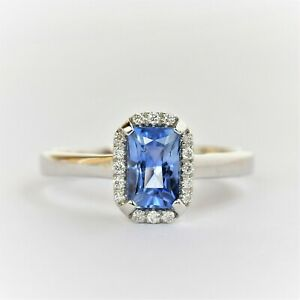 NATURAL 1.36ct CEYLON SAPPHIRE RING 18K WHITE GOLD SIZE N1/2 VALUATION $4400 NEW