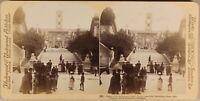 Italia Roma Davant Il Capitol Animata Foto Stereo Vintage Albumina 1900