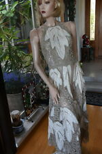 LIM'S BRAND NEW ZIP BACK 100% COTTON ALL HAND MADE CROCHET MAXI DRESS TAUPE M