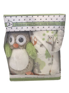 New Blankets & Beyond 2Pc. Blanket And Owl Plush With Rattle Set Lovey Baby Toy