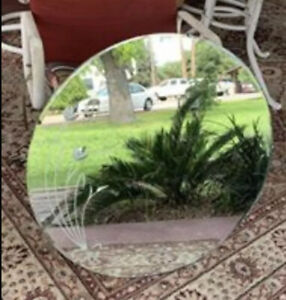 Vintage antique circular round mirror etched flowers 27 1/2 inches in diameter