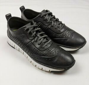 Cole Haan ZeroGrand Grand.OS Black Perforated Leather Sneakers C21568 Mens 10 M