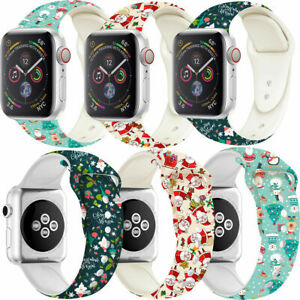 New Christmas Silicone Watch Band Belt Smart Strap For iWatch Series 7/6/5/4/3/2