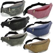Faux Suede Fanny Pack Waist Belt Bag Black Red Blue Silver Hip Pouch Travel