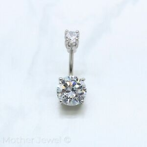 10MM SIMULATED DIAMOND BELLY BUTTON SILVER SURGICAL STEEL NAVEL BARBELL RING