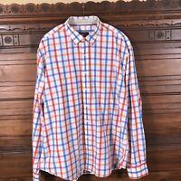 Bugatchi Uomo Shaped Fit 100% Cotton Check Long Sleeve Button Shirt Men's 3XL
