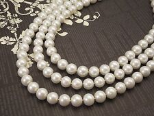Wedding Bridal, Three Strand, Classic Style 10mm White Glass Pearl Necklace