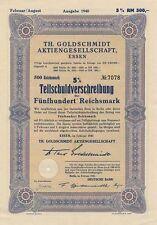 Th. GOLDSCHMIDT Essen histor. Anleihe 1940 VIAG Veba E.on Degussa Evonik Chemie