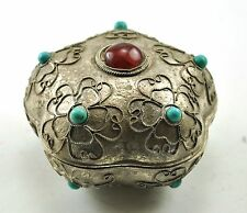 "1.75"" Vintage TIBETAN SILVER Inlay Carnelian Jewelry Treasure Mini Box Handcraft"