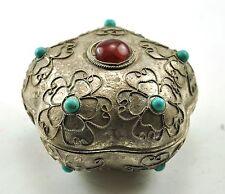 "1.75"" Vintage TIBETAN SILVER Inlay Carnelian Jewelry Treasure Mini Box Handcraft"