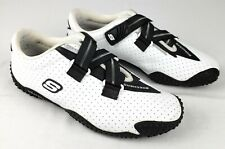 Skechers BUGABOOS Womens Size 7.5 White Black Leather Sports Shoes Hook Loop
