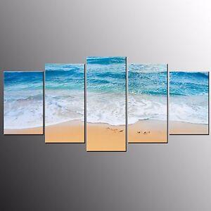 FRAMED Canvas Print Poster Art For Wall Decor Blue Beach Wall Art Painting-5pcs