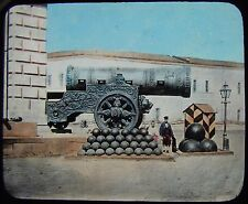 Glass Magic Lantern Slide THE KING OF CANNON MOSCOW C1890 PHOTO RUSSIA BALLS