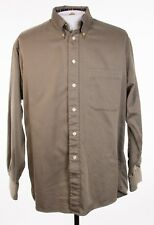 Burberry London Mens Large Gold Black Stripe LS Button Front Shirt USA Made