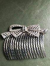 Large Silver Tone Diamante Bow Style Hair Comb Adornment - Chignon Bun