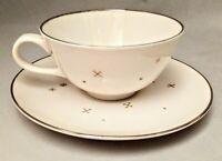 "Syracuse China ""Evening Star"" Flat Cup & Saucer Set Vintage Mid-Century Modern"