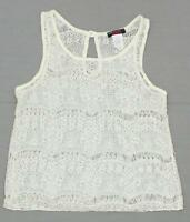 New Blush Ladies Junior Fit Lace Tank Top Blouse Shirt Top Ivory