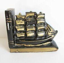Vintage Japan Pottery Sailing Ship Bookend Nautical Decor Gold on Black Free Sh