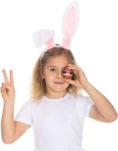 Bunny Ears Headband - Plush Easter Rabbit Ears White and Pink Easter Bunny Ears