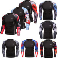 Mens Compression Top Athletic Running Slim fit Quick-dry Wicking Workout Shirts