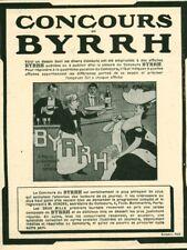 Publicité ancienne Byrrh dessin emprunté à des affiches 1908 issue de magazine