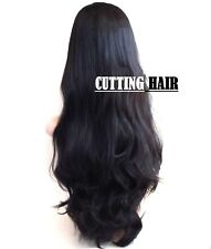 Off Black 3/4 Wig Fall Hair Piece Layers Long Wavy Curly Half Wig 303-1B