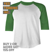 MENS CASUAL BASEBALL T SHIRT PLAIN RAGLAN SHIRTS 3/4 SLEEVE TEE SOLID CAMO EVENT