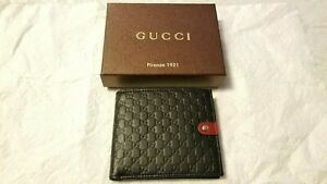 GUCCI Micro Guccissima GG Black Leather Bi-Fold Wallet Rare Green/Red/Pouch- Box