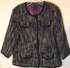 Multiples Womens Large blazer jacket career Purple Lined Tweed Womens multicolor