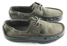 c5e08ea2f96087 Crocs Mens Cove Boat Shoes Size 10 Brown Leather Rubber Slip on Deck Loafers
