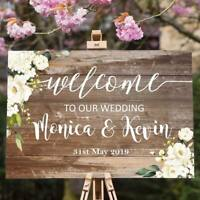 Personalised Wedding Welcome Sign  A1 / A2 / A3 Sizes  Rustic 003