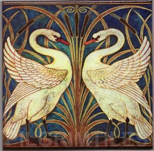 Walter Crane Swans Tile Col Fireplace Kitchen Bathroom Ceramic or Porcelain