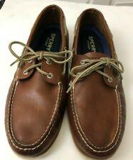 Sperry Mens Shoes Top-Sider Medium Brown Rawhide Ties Rivets Rubber Sole Sz 14M