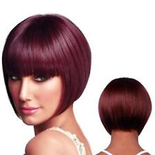 Women Wine Red Short Bob with Bangs Synthetic Hair Full Wig Heat Resistan LLKK
