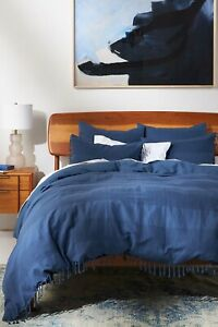 New Anthropologie Striped Cotton Linen Duvet Cover Slate Twin MSRP $228 NWT NIP