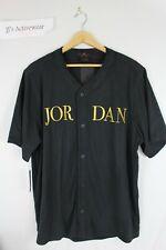 NWT JORDAN REMASTERED BASEBALL JERSEY Top Black/Gold Button Up AT9822-010 SZ L