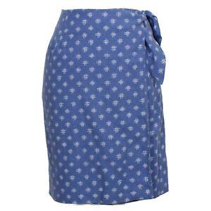 COLDWATER CREEK Blue Crosshatch Print Linen Blend Wrap Skirt S