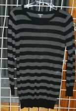 SIZE M CHARLOTTE RUSSE GRAY & BLACK STRIPED LONG PULLOVER SWEATER