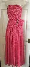 Vintage long maxi strapless dress, red & white polkadot, size 8