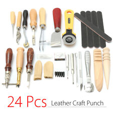 24Pcs Herramienta Para Cuero Arte Agujero Prong Costura Stitching Groover Lezna