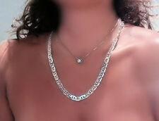 "Solid  Thick and Wide Sterling Silver rodium anti tarnish  20"" Necklace"