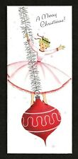 Unused Mid Century Lady in Pink on Red Ornament Silver Accents Gibson Card
