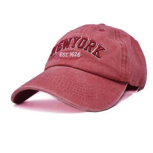 Mens Womens Washed Cotton Vintage NY Est.1625 Baseball Dad Cap Adjustable Hat